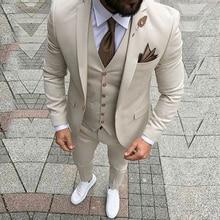 MENS Suit Jacket Blazer Slim-Fit Business Groomsman Wedding Deep-Ivory-Smoking Formal