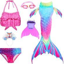 Детский купальник с хвостом Русалочки, бикини для девочек, Костюм Русалки для косплея, купальный костюм с плавником, одежда для купания с хвостом русалки