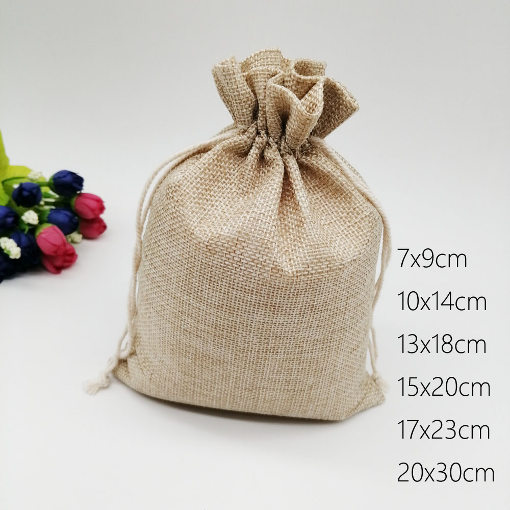 500pcs Jute Bags Gift Drawstring Pouch Gift Box Packaging Bags For Gift Linen Bags Jewelry Display Wedding Sack Burlap Bag Diy