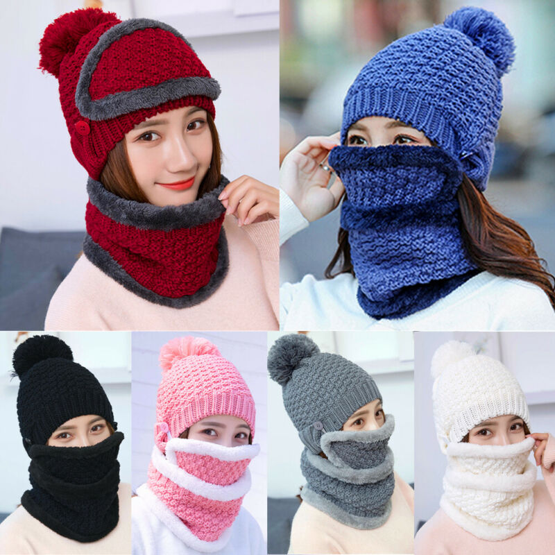 Brand New Winter Ultra Warm Knitting Wool Beanie Hat Scarf Set Fleece Warm Balaclava Snow Ski Cap For Kid Men Women