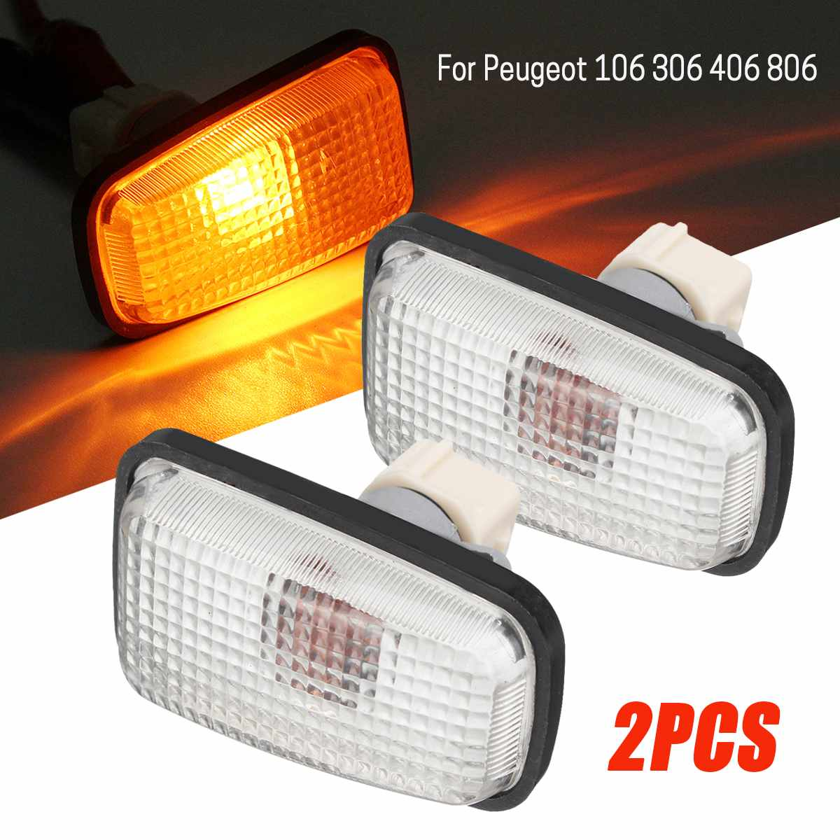 2PCS 12V Side Marker Light Repeater Lamp Blinker For Peugeot 106 306 406 806 Saxo Berlingo Xsara Side Indicator 632567