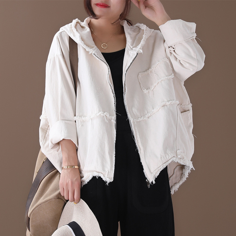 [EWQ] 2020 Spring Autumn New Pattern Lapel Long Sleeve Solid Patchwork Zipper Hooded Vintage Coat Women Fashion Tide AK34700