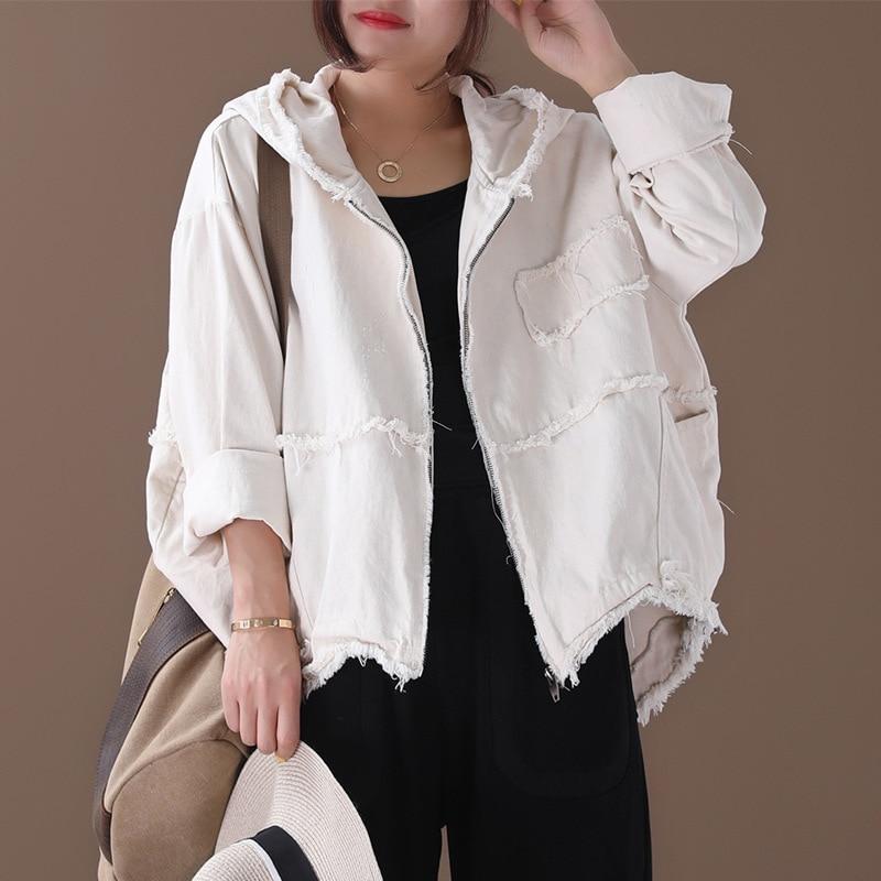[EWQ] 2020 Spring Autumn New Pattern Lapel Long Sleeve Solid Patchwork Zipper Hooded Vintage Coat Women Fashion Tide AK34700