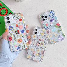Cute Flower Transparent Phone Case For iPhone 11 12 Pro Max XR XS Max X 7 8 Plus 12 Mini Shockproof Bumper Soft Clear Back Cover