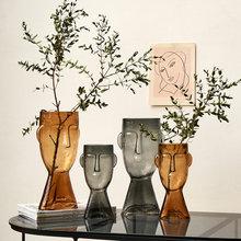 Abstract Human Face Vase Transparent Glass Flower Vase Hydroponic Vase Plant Pots Decorative Home Decore Living Room Decoration