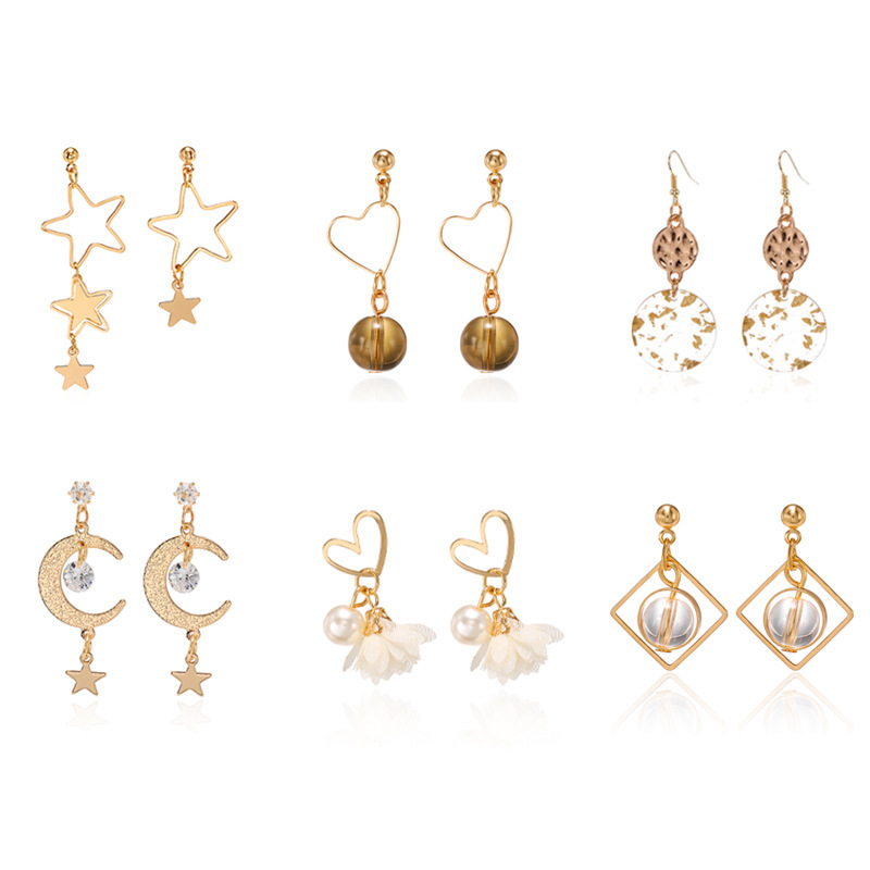 2020 Brinco Earing Pendientes Temperament Asymmetric Hollow Out Small Five-pointed Love Stud Earrings Contracted Long Stars