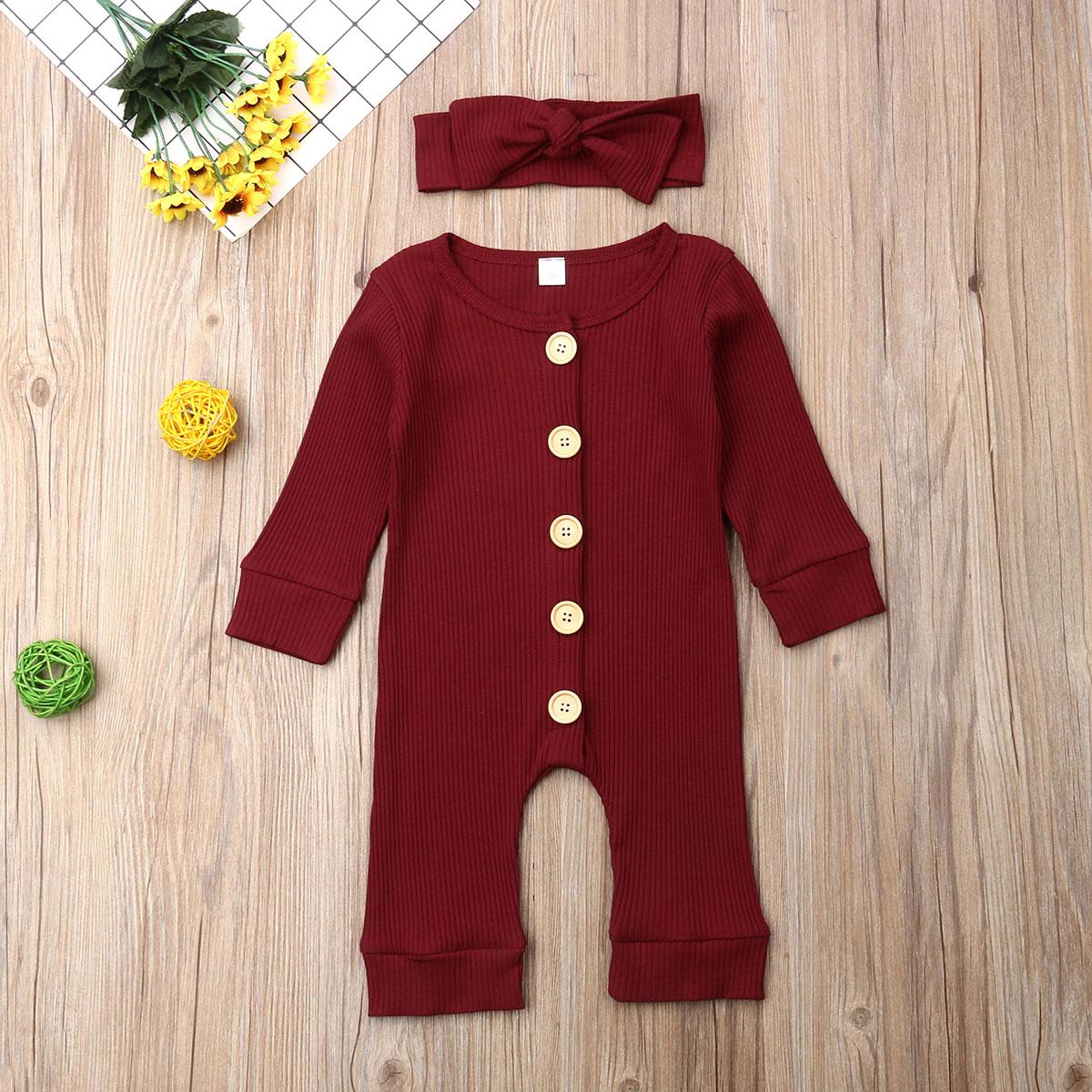 Hffdb4b3a528445dab595f1baea89df3cD Spring Fall Newborn Baby Girl Boy Clothes Long Sleeve Knitted Romper + Headband Jumpsuit 2PCS Outfit 0-24M