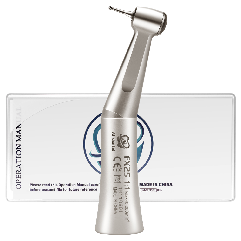 Dental Contra Angle Handpiece Air Motor FX25 1:1 Low Speed Push Button External Water Spray With Ball Bearing