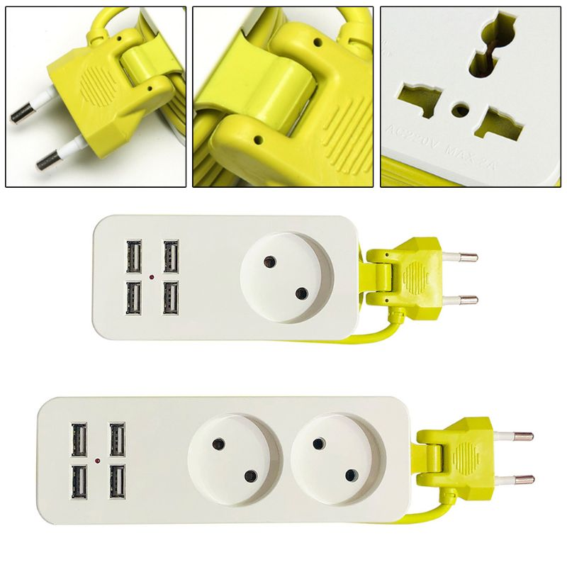 EU Plug 4 USB Socket Power Strip Electric Surge Protector Smart Wall Charger Hub