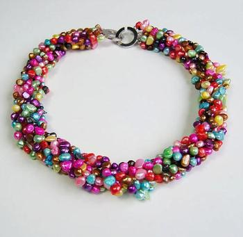 Unique Pearls jewellery Store Multicolor Baroque Genuine Freshwater Pearl Necklace Ring Clasp Charming Women Gift Jewelry