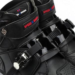 Image 4 - חדש אופנוע קצר אתחול מיקרופייבר עור Probiker מירוץ קרסול רכיבה נעלי מוטוקרוס סירות החלקה נעלי אופנוע מגפיים