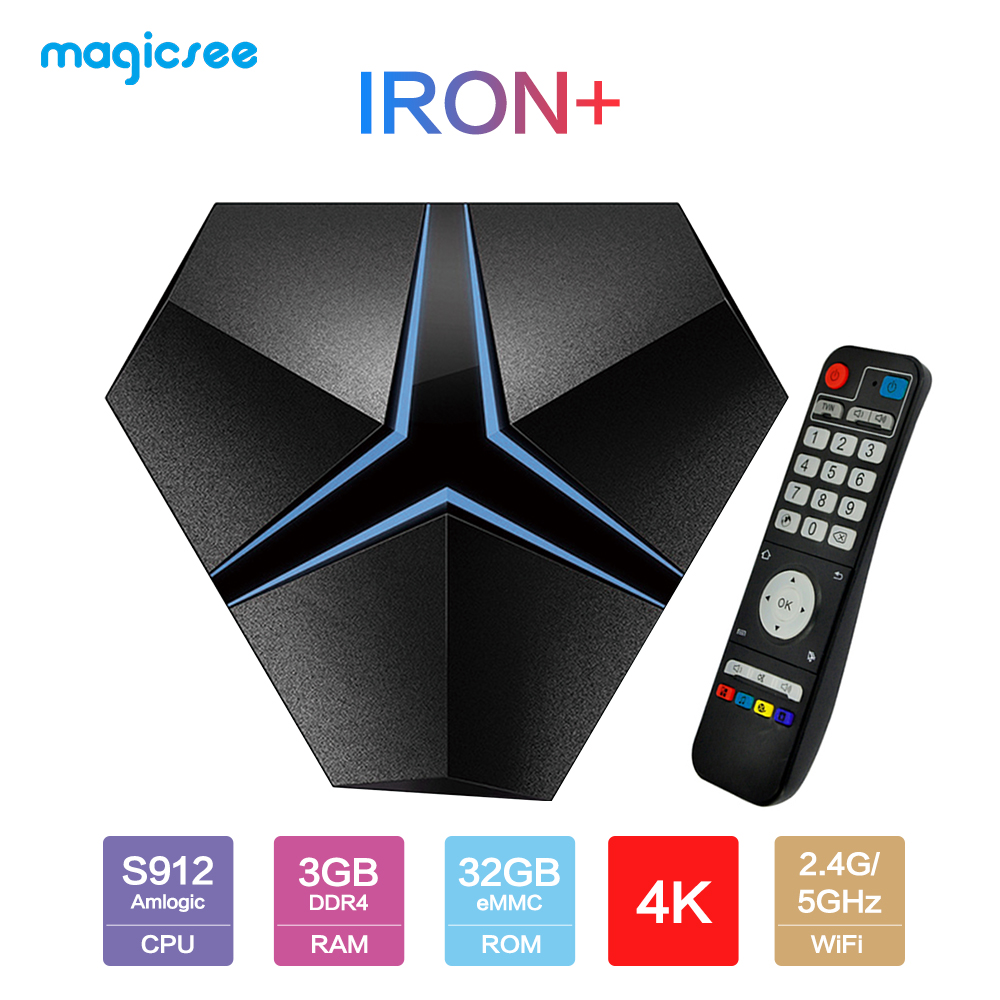Magicsee Iron+ Amlogic S912 Octa Core 3G 32G Android 7.1 TV Box 2.4G/5.8G Wifi suppot OTA Update Lan 1000M BT4.1 Media Player 4K(China)
