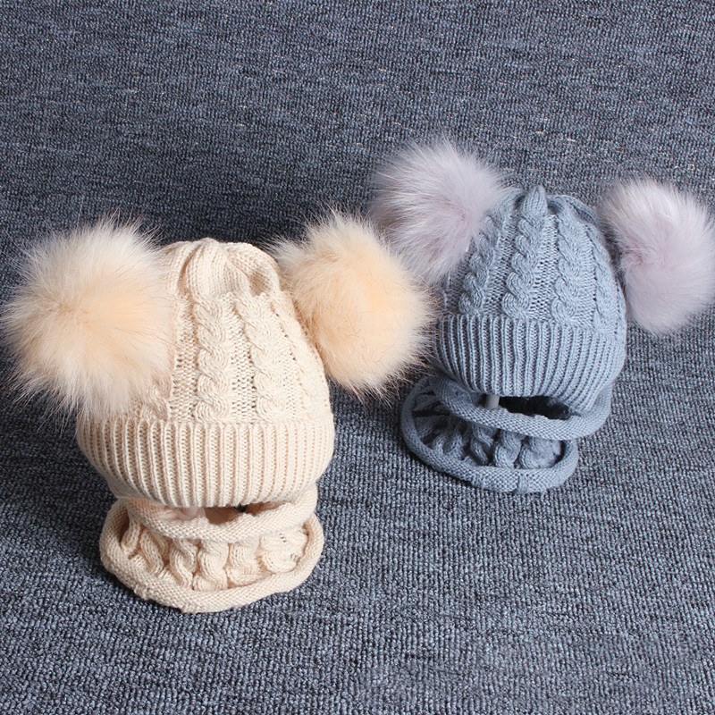 Children's Wool Hat Imitation Braid Hair Double Ball Hat Scarf Suit Knit Hat Baby Boys Girls Beanie Cotton Ball Warm Hat Cap Set