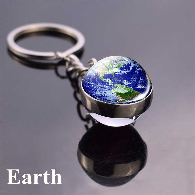 חם Dropshipping 2019 שמש מערכת Planet Keyring Keychain ירח כדור הארץ שמש מאדים אמנות תמונה זוגי צד זכוכית כדור מפתח שרשרת טבעת