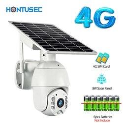 HONTUSEC 1080P HD 4G маломощная Солнечная камера PTZ ночное видение Двусторонняя аудиосвязь солнечная панель наружный мониторинг солнечная энергети...