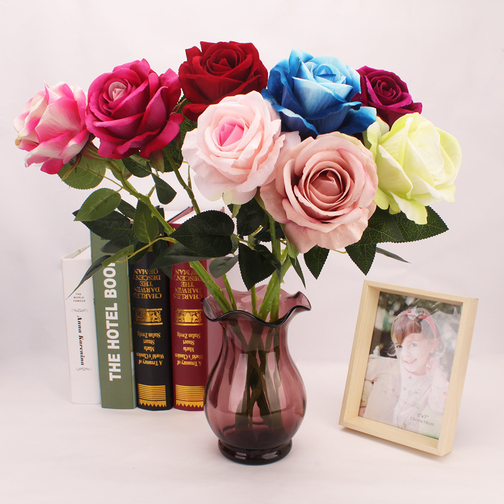 1pcs Artificial flower rose Wedding bouquet Living room table wedding photography decoration Valentine Day Everlasting flower in Artificial Dried Flowers from Home Garden