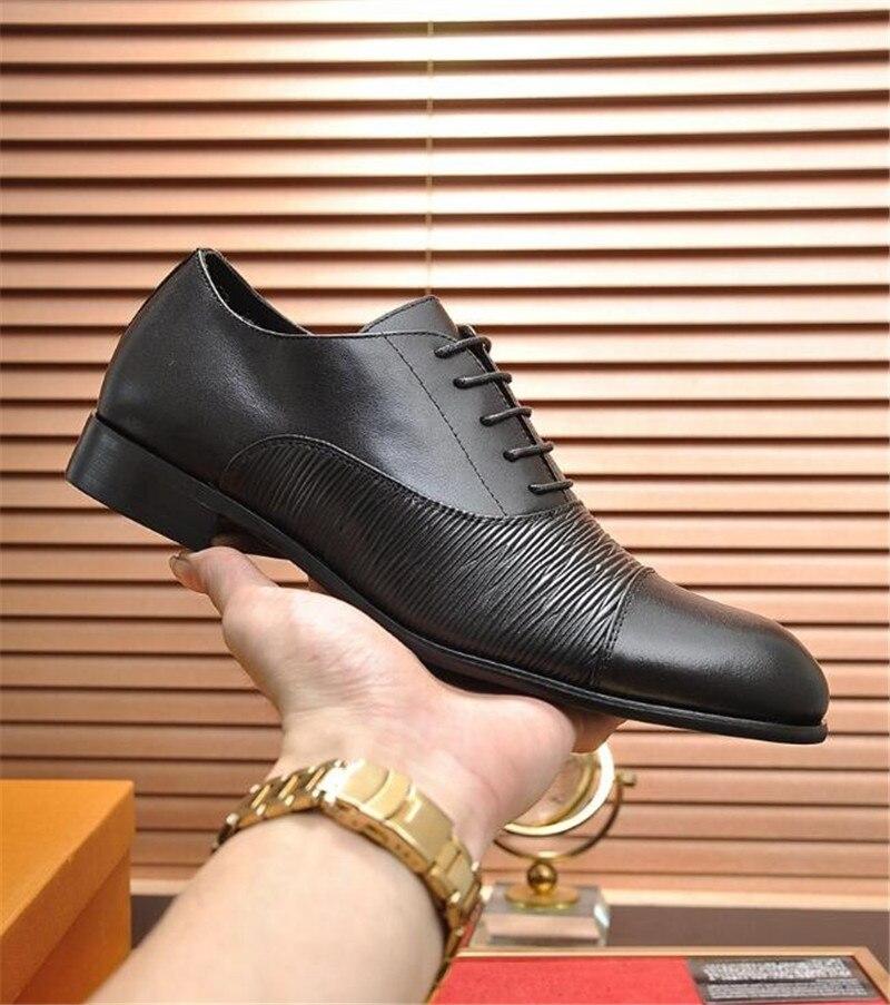 HKSZ мужские свадебные туфли из натуральной кожи в деловом стиле; Мужские модельные туфли с острым носком; мужские оксфорды на плоской подошве; размеры 38 44 - 4