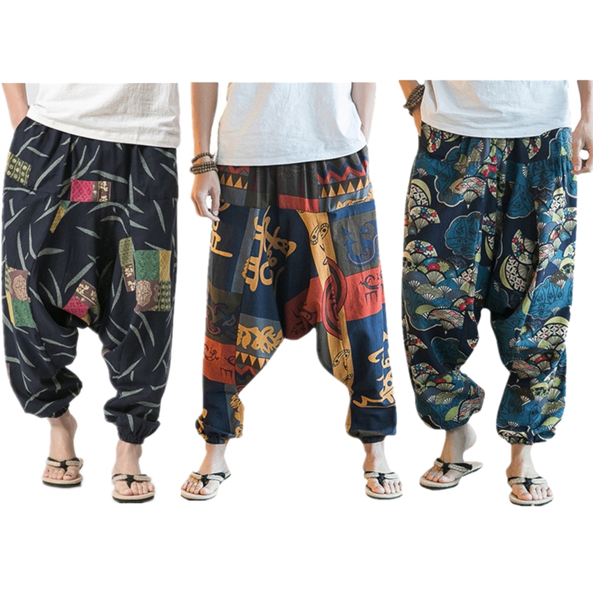 Chinese Traditional Wide Leg Trousers Summer Plus Size Loose Linen Cotton Hanging Harem Pants Print Streetwear National Clothing