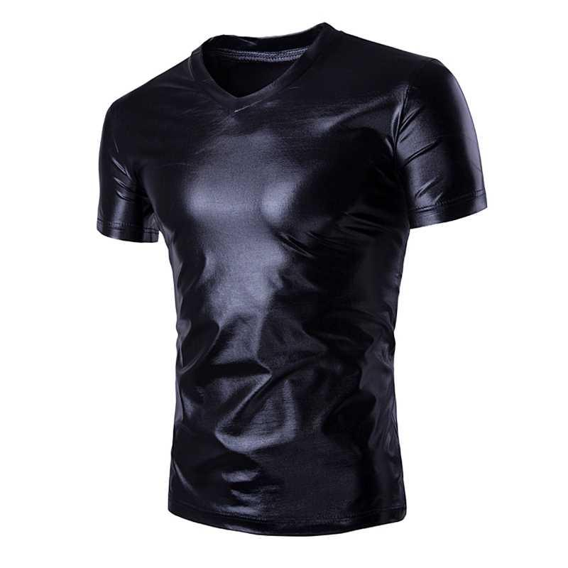 แฟชั่นผู้ชายสบายๆเสื้อยืดแขนสั้นVคอSlim Fit Shiningเสื้อTopเสื้อWet Look Teeยืดเสื้อMetallicเงา