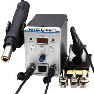 Image 4 - 220 В 580 Вт паяльная станция 8586 2 в 1 SMD наладочная станция воздуходувка горячего воздуха Тепловая пушка + Электрический паяльник