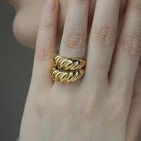 Anillos de nudillo de índice de moda para el día a día para mujer, joyería de fiesta con forma de Croissant, anillos chapados en oro de 18K para mujer, anillos abiertos 2020