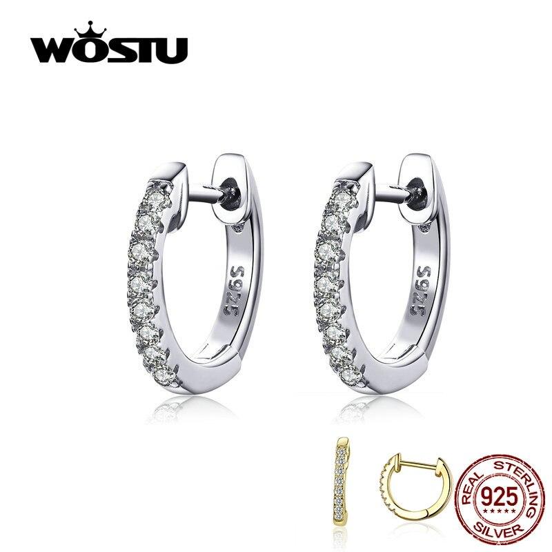 Pendientes wastu de Plata de Ley 925 clásicos redondos de plata auténtica con circonita transparente para mujer, joyería de moda CQE498