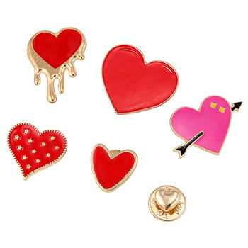 HOSENG 6Pcs/Lot Love Heart Enamel Pin Dating Wedding Cloth Decorative Jewelry Brooch Gift HS_5643 image