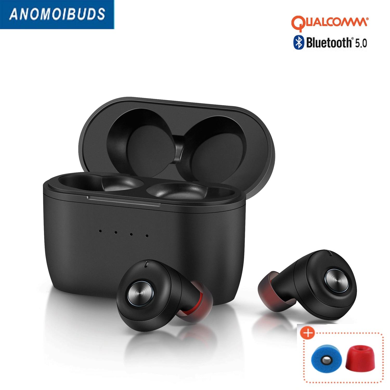Anomoibuds QCC010 наушники-вкладыши TWS Bluetooth 5,0 наушники устройство, док-станция Qualcomm Беспроводной наушники CVC8.0 с микрофонами 80 часов Playtimes Aptx наушни...
