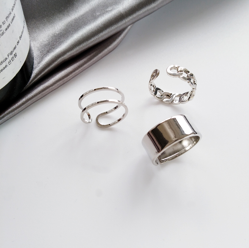 Hiphop/Rock Metal Geometry Circular Punk Ring Opening index finger Accessories buckle joint tail Ring for women 4