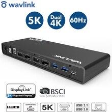 ドッキングステーションユニバーサル 5 18k USB Cデュアル 4 18k表示usb 3.0 ビデオギガビットイーサネットhdmi/displayport作業 & スタディオンライン