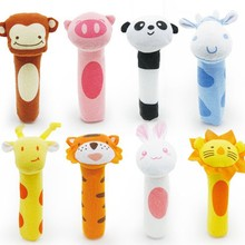 Animal Baby Toys 0-12 Months Kawaii Soft Bibi Sticks Crib Baby Carriage Plush Doll Newborn Rattles Educational Toys For Children(China)