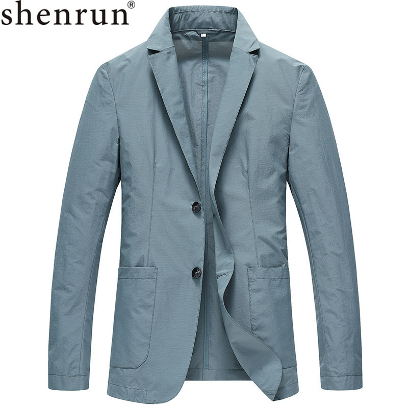 Shenrun Men New Blazers Summer Light Thin Quick Drying Suit Jacket Single Layer Breathable Casual Anti-Wrinkle Sunscreen Outdoor