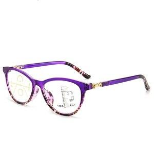 Image 4 - LONSY عالية الجودة المرأة التقدمية نظارات للقراءة مكافحة الأزرق عدسات إضاءة نظارات طويل النظر قصر النظر نظارات القراء