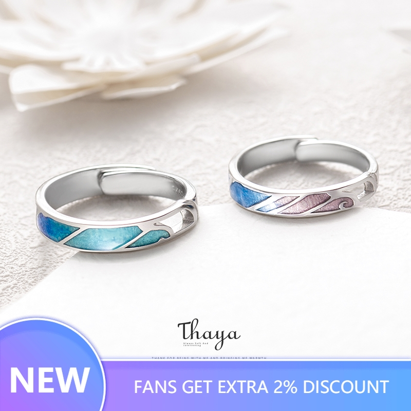 Thaya Multi Color Gradient Rings Adjustable Jewelry 925 Silver Ring Circle Rings For Couples Engagement Gift