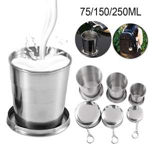 Folding-Cup Cups Telescopic Retractable Stainless-Steel Collapsible Outdoor with Keychain