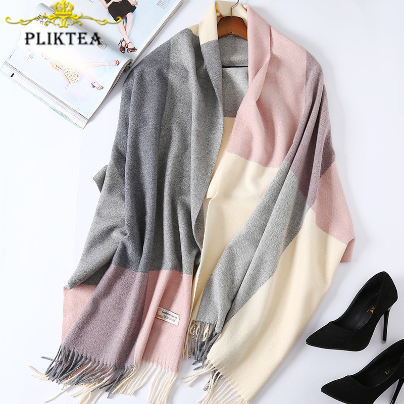 200*70 Patchwork High Quality Women Plaid Cashmere Scarf Wrap Thick Warm Winter Poncho Female Blanket Scarf Shawl Pashmina Stole