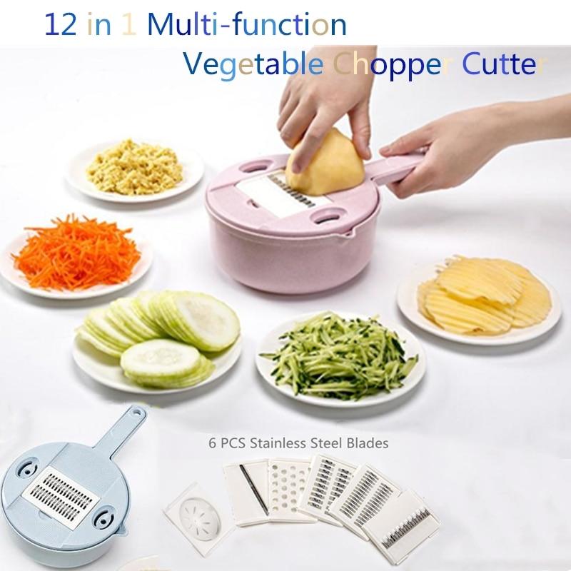 12 in 1 Multi function Vegetable Chopper Cutter Spiralizer Mandoline Slicer Dicer Manual Mandoline Cheese Onion Chopper Grinder Manual Slicers     - title=