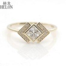 솔리드 10k 옐로우 골드 공주 컷 4MM 100% 정품 AAA 등급 큐빅 지르코니아 약혼 웨딩 여성 트렌디 쥬얼리 반지 선물