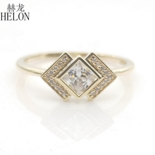 Stałe 10k żółte złoto księżniczka cut 4MM 100% oryginalna AAA Graded cyrkonia zaręczyny ślub kobiety Trendy biżuteria pierścień prezent