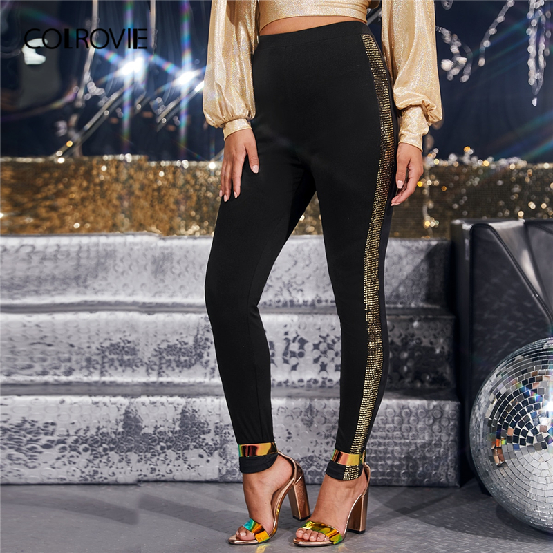 COLROVIE Black Sequin Sideseam Leggings Women Solid Highstreet Long Leggings 2019 Fashion Autumn Ladies Glamorous Pants