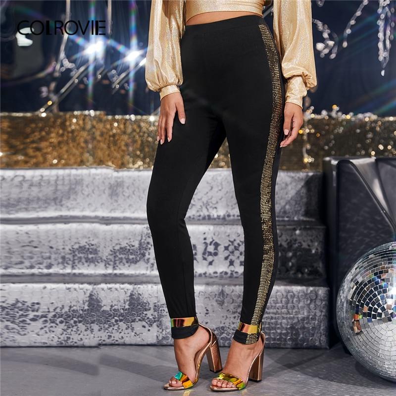 COLROVIE Black Sequin Sideseam Leggings Women Solid Highstreet Long Leggings 2019 Fashion Autumn Ladies Glamorous Pants