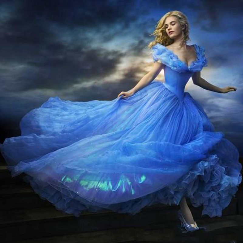2018 Cinderella Blue V Neck Cap Sleeve Beaded Puffy Princess Floor Length Quinceanera Prom Gown Mother Of The Bride Dresses