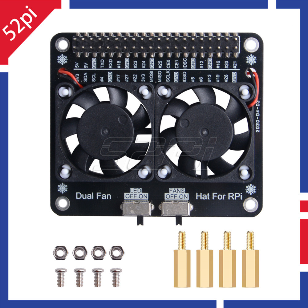 52Pi Raspberry Pi LED Dual Cooling Fan Module GPIO Expansion Board Compatible For Raspberry Pi 4 Model B 3B+/3B/4B