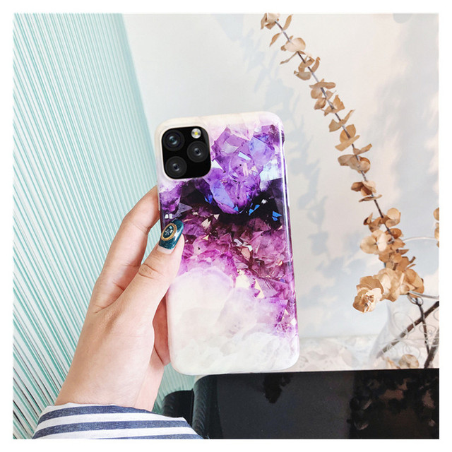Soft Cover Purple Crystal Marble Glitter Phone Case for iPhone 11, X, 8 etc.