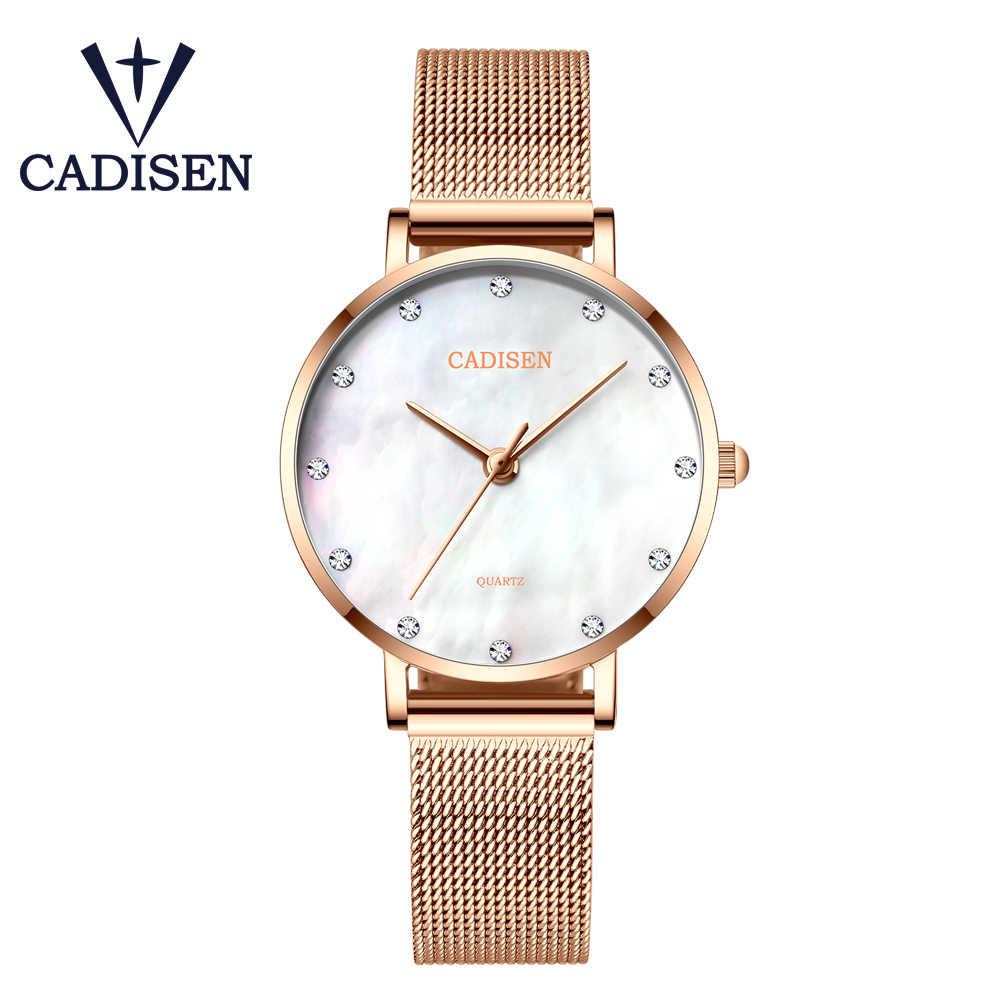Reloj de cuarzo de marca de lujo CADISEN relojes de moda para Mujer elegante Reloj de pulsera de cuero para Mujer C6153