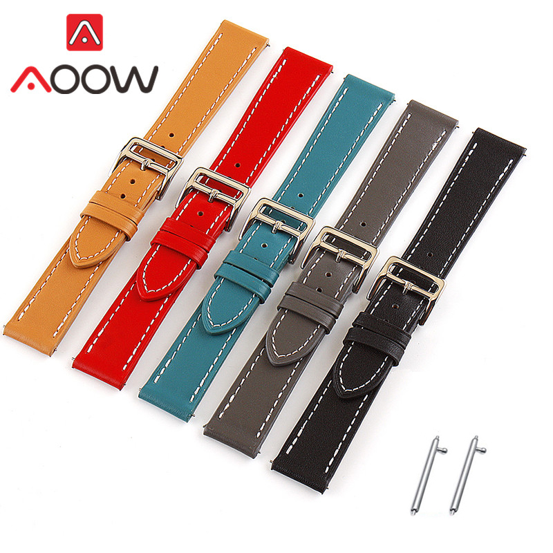 18mm 20mm 22mm 24mm Genuine <font><b>Leather</b></font> Watchband for <font><b>Samsung</b></font> Galaxy Watch Active2 42mm <font><b>46mm</b></font> Huawei GT 2 Amazfit Bracelet Strap Band image