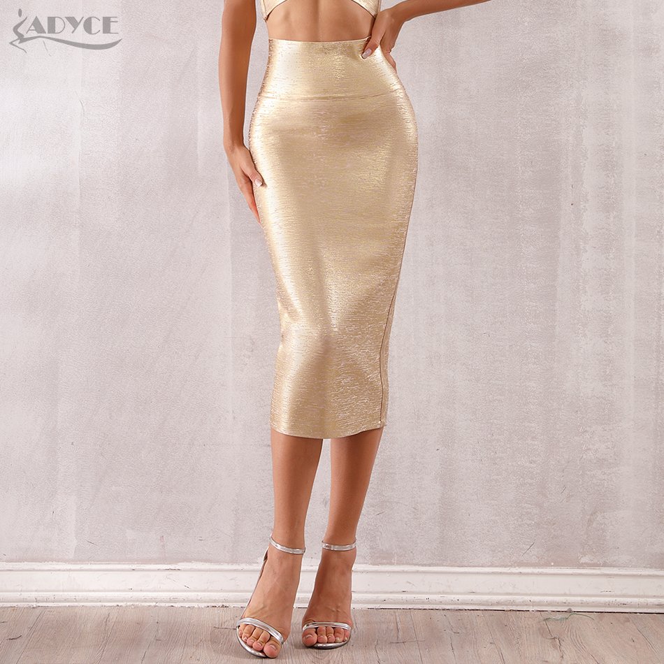 ADYCE 2020 New Summer Women Bandage Skirts Sexy Celebrity Runway Party Skirts Mid-Calf Gold Female Bodycon Club Pencil Skirts