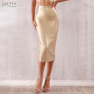 Image 1 - Adyce faldas de estilo vendaje para mujer, faldas ajustadas de media pantorrilla doradas, sexys, para fiesta de celebraciones y clubes, 2020