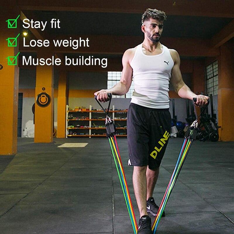 Resistance Bands Set Yoga Exercise Fitness Elastic Rubber Tubes Band Training Workout Gym Expander Pilates Equipment