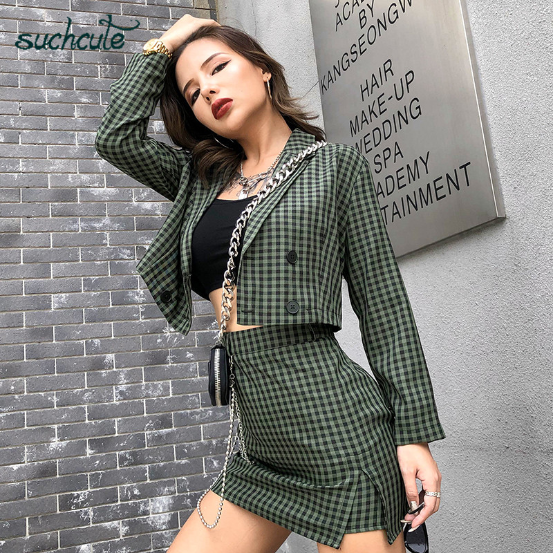 SUCHCUTE Ladies Blazer And Skirt Set Women's Suit 2 Piece Set Green Casual Blazers Korean Style Ropa Oficina Mujer Mantelpakje